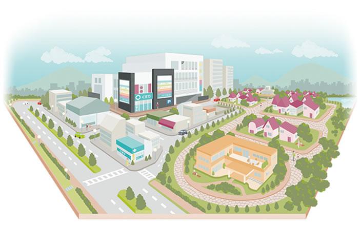 イラスト:街 開業支援 医院開業 医療モール